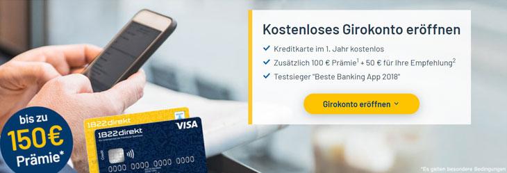 1822direkt: 150 € Girokonto Prämie (bis 31.05.2019)