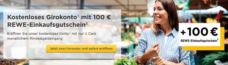 Commerzbank: 100 Euro REWE-Einkaufsgutschein